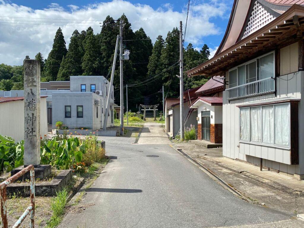 成島八幡神社と成島館跡 遠景