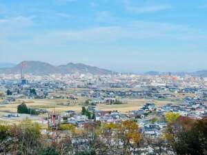 櫓から望む信夫山と福島城下
